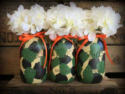 redneck party decorations camouflage mason jars