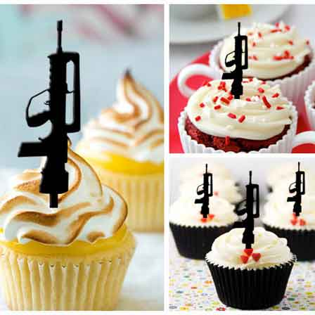 ak47 machine gun cupcake toppers