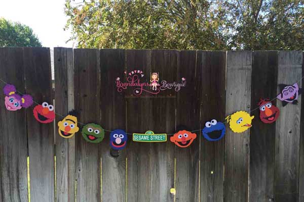 sesame street personalized garland banner