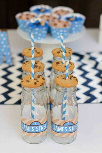 milk bottles and cookies