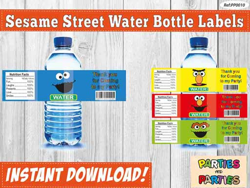 sesame street water labels