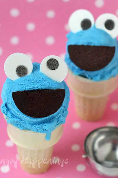 cookie monster ice cream cones