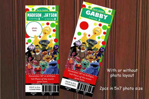 sesame street birthday party invitations