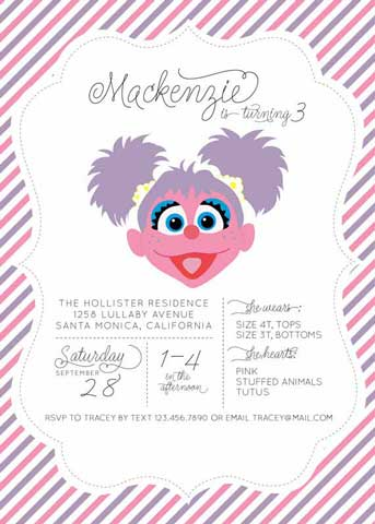 sesame street party Invitation abby caddaby