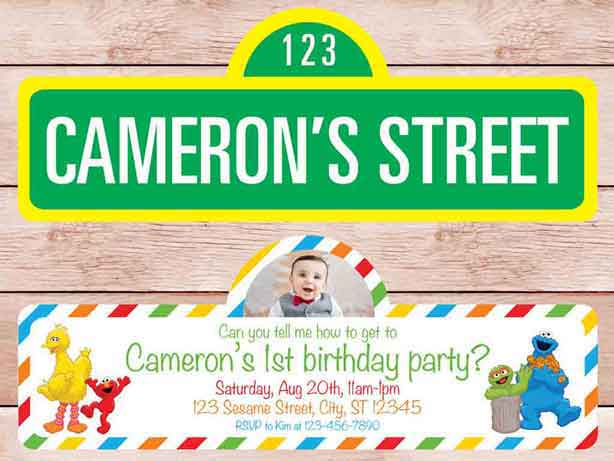 sesame street sign invitations