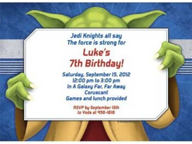star wars party invitation yoda