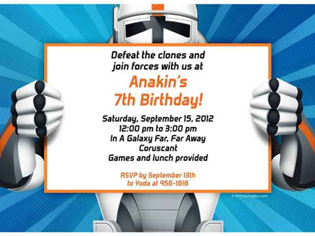 star wars party invitation clonetrooper
