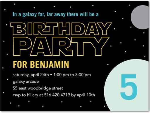 star wars inspired birthday invitation