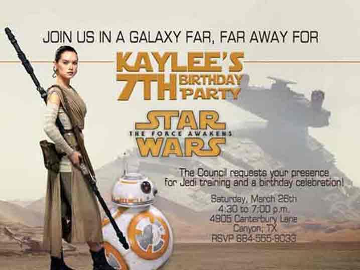 star wars birthday invitations force awakens