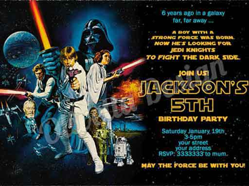 classic star wars birthday invitations