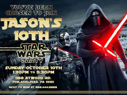 star wars invitations kylo ren