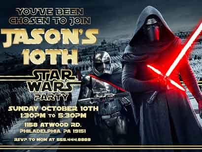 star wars invitations kylo ren