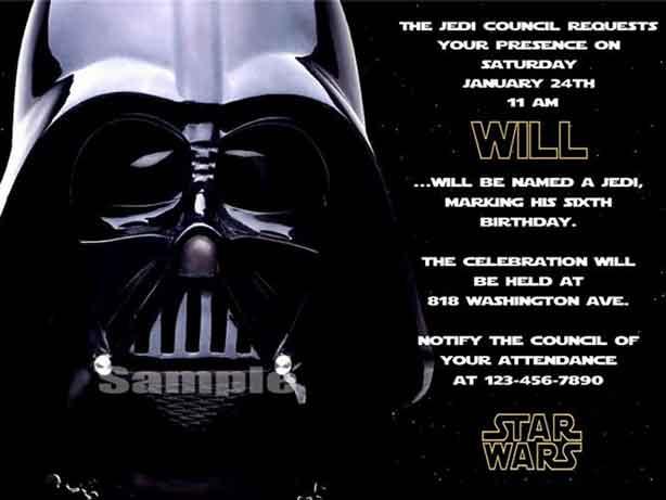 star wars birthday invitations darth vader