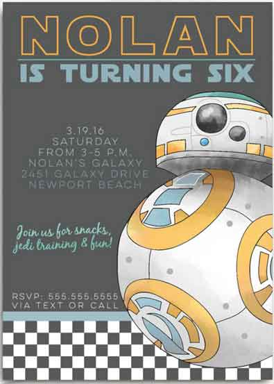 Star Wars Birthday Invitations BB8