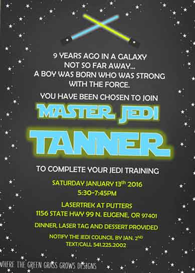 Star Wars Invitations lightsaber