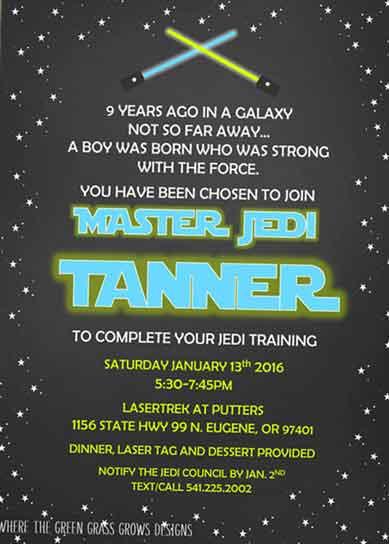 Star Wars Invitations lightsaber