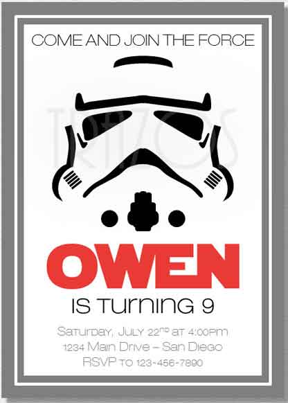Star Wars Party Invitations Stormtrooper