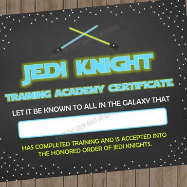 star wars party games jedi certificate