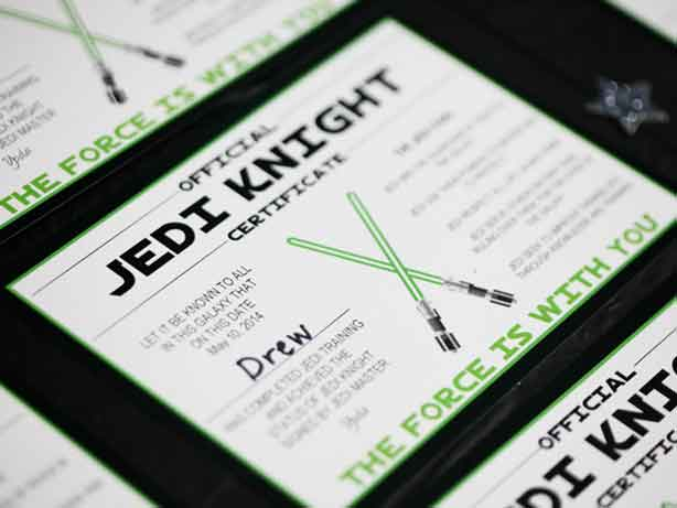 jedi training certificates