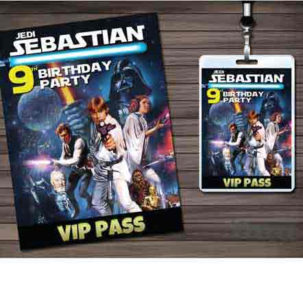 star wars VIP pass party invitations
