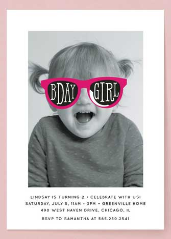personalized birthday girl toddler photo invitation