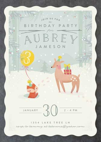 3rd birthday snow woodland invitation