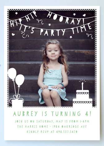 turning 4 personalized photo invitation
