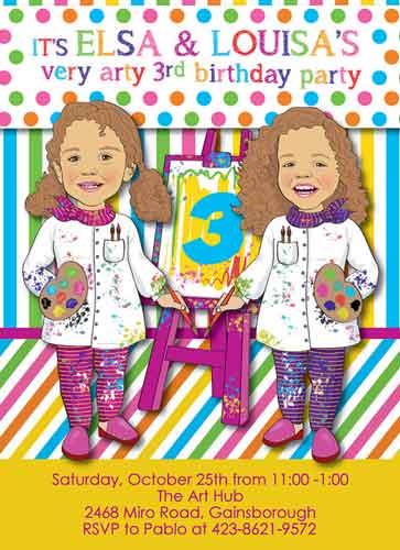 personalized cartoon toddler birthday invitation